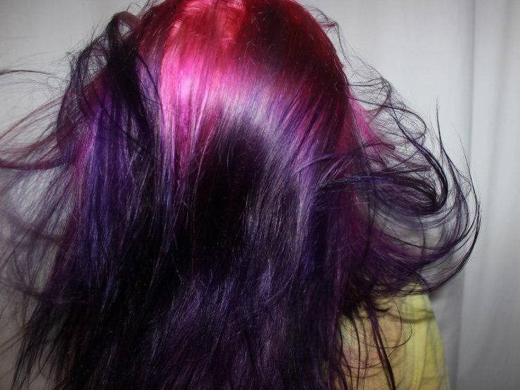 Astrid's hair is super colorful this week.